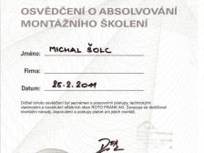 Certifikát - montáž střešních oken Roto