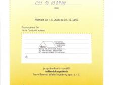 Certifikát - solární systémy Bramac