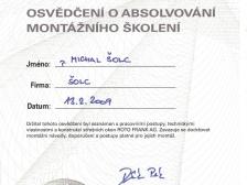 Certifikát - střešní okna Roto