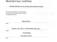 Certifikát - střešní okna Velux