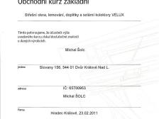 Certifikát - střešní okna, lemování a doplňky, solární kolektory  Velux
