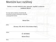 Certifikát - údržba a montáž střešních oken, lemování, doplňků a solárních panelů Velux